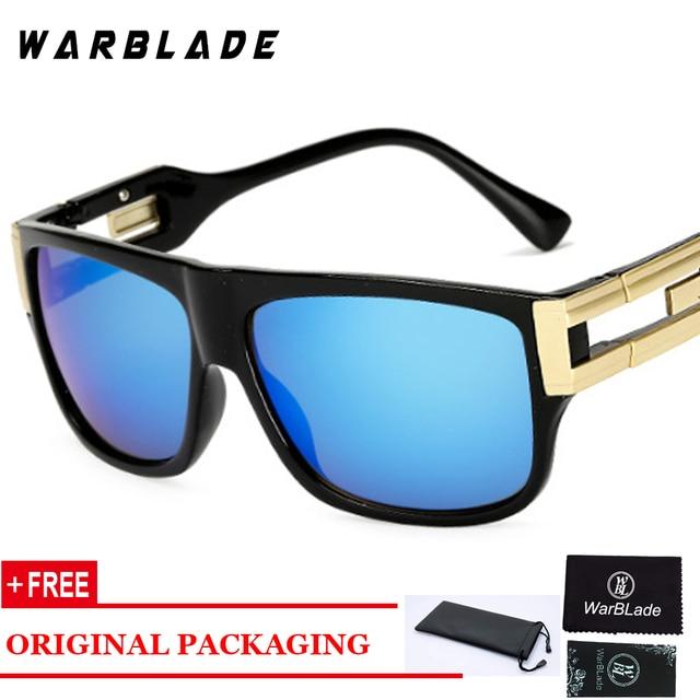 WARBLADE-lunettes de soleil UV400 hommes | Lunettes de soleil rétro à plateau plat carré, marque de styliste mode femmes dégradé/transparent, lentille