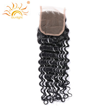 Sunlight Human Hair Brazilian Deep Wave Lace Closure 100% Remy Human Hair 4x4inch Can Be Dyed And Bleached Shipping Free