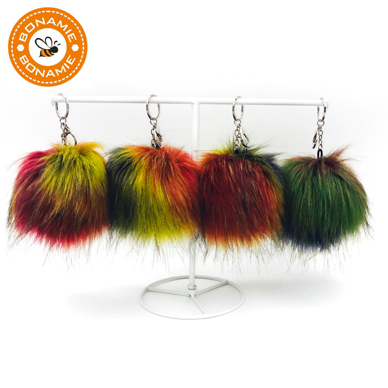 BONAMIE 30Pcs/Lot Large Size 12cm Fashion Handbag Decoration KeyChain Fluffy Hair Ball K ...