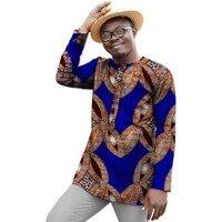 Dashiki Men Dress African Clothes Ankala Fashion Print Long Sleeve Tops Man T shirt Africa Style Design Dance Festive Costume