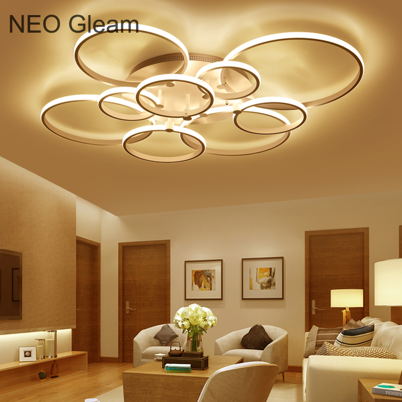 NEO Gleam New Modern Led Ceiling Lights For Living Room Bedroom White Color Home Circel Rings Led Ceiling Lamp lampara techo black or white rectangle living room bedroom modern led ceiling lights white color square rings study room ceiling lamp fixtures