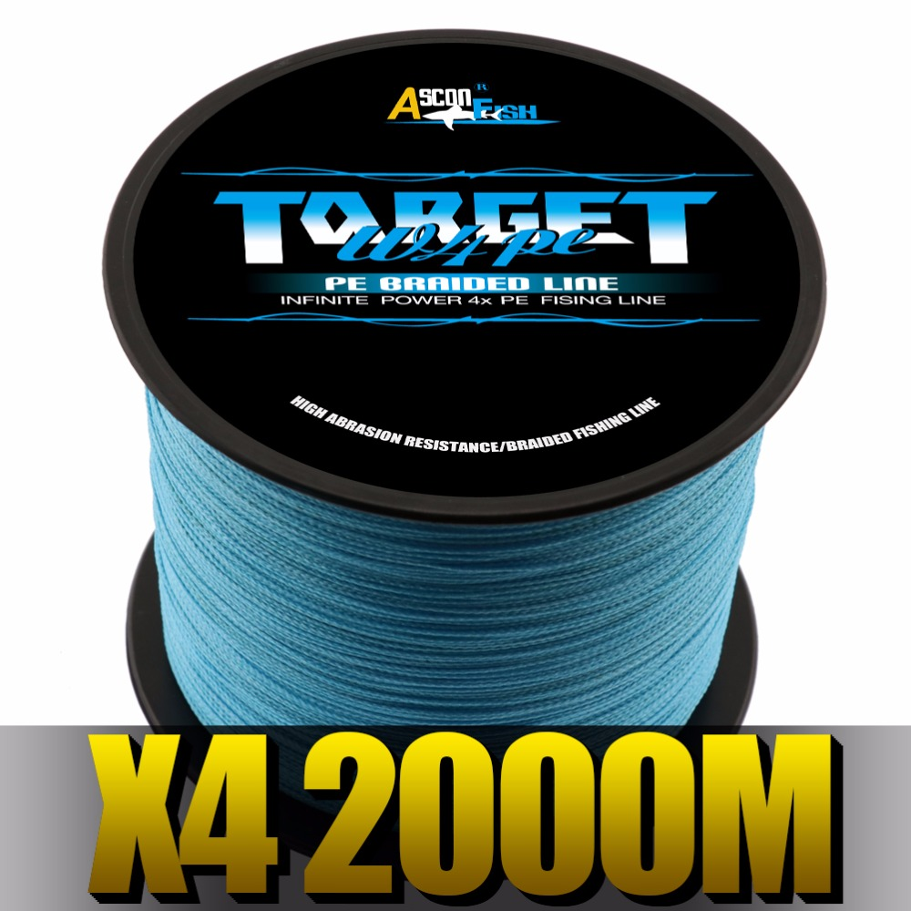Ascon Fish 4 Strands Braided Fishing Line 2000m for Carp Fishing Accessories 4 Braid Multifilament Line 6-100LB saltwater