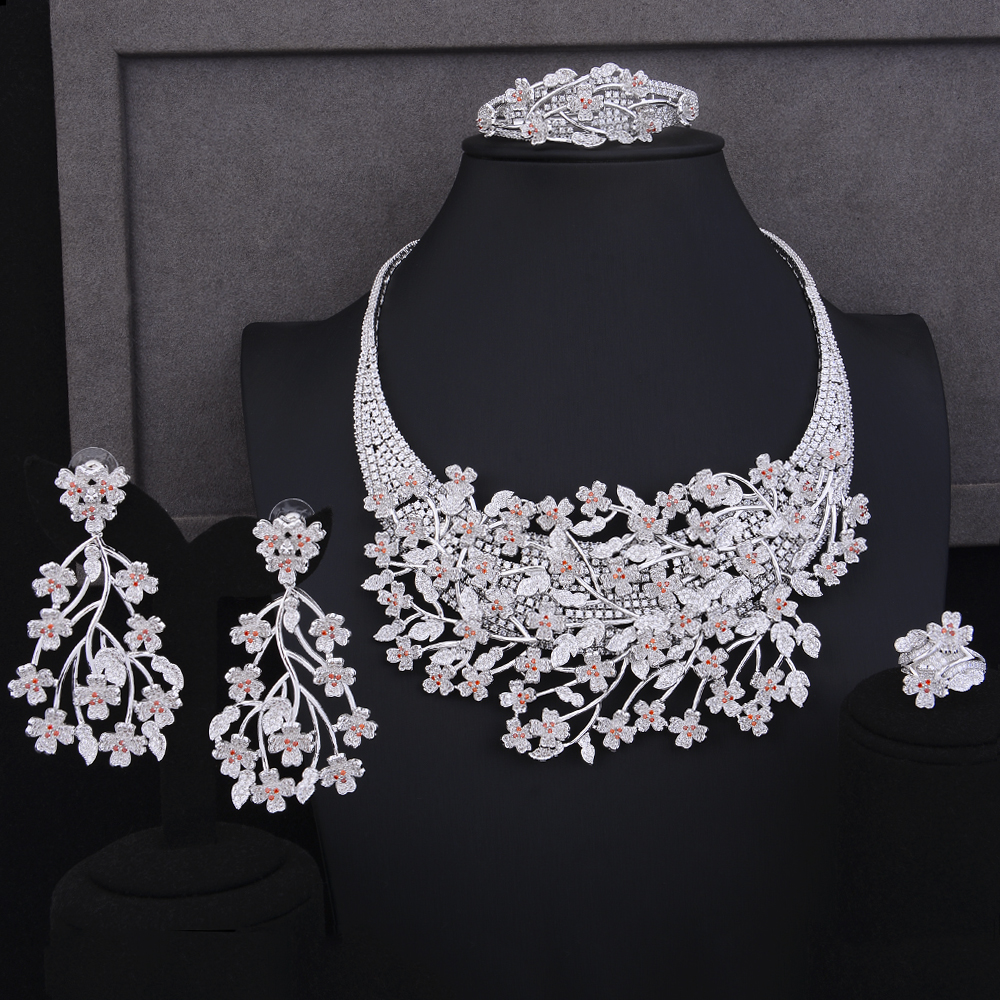 missvikki 4 PCS Delicate Gorgeous Handmade Jewelry Set Blooming flowers Roamntic Sweet Cute Jewelry for Women Bridal Party