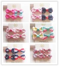 4PCS/set New Design Grosgrain Baby Small Bow Hairpins Girls Hair Accessories Children gris Kids Clips Mini Headwear  J3