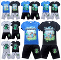 2015 new fashion boy short sleeve T-shirt + shorts suit % cotton suit Summer kids clothing set 4 - 14 years (12 color choices)