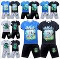 2015 nueva moda boy manga corta camiseta + shorts traje % traje de algodón ropa kids Summer set 4 - 14 años ( 12 opciones de color )