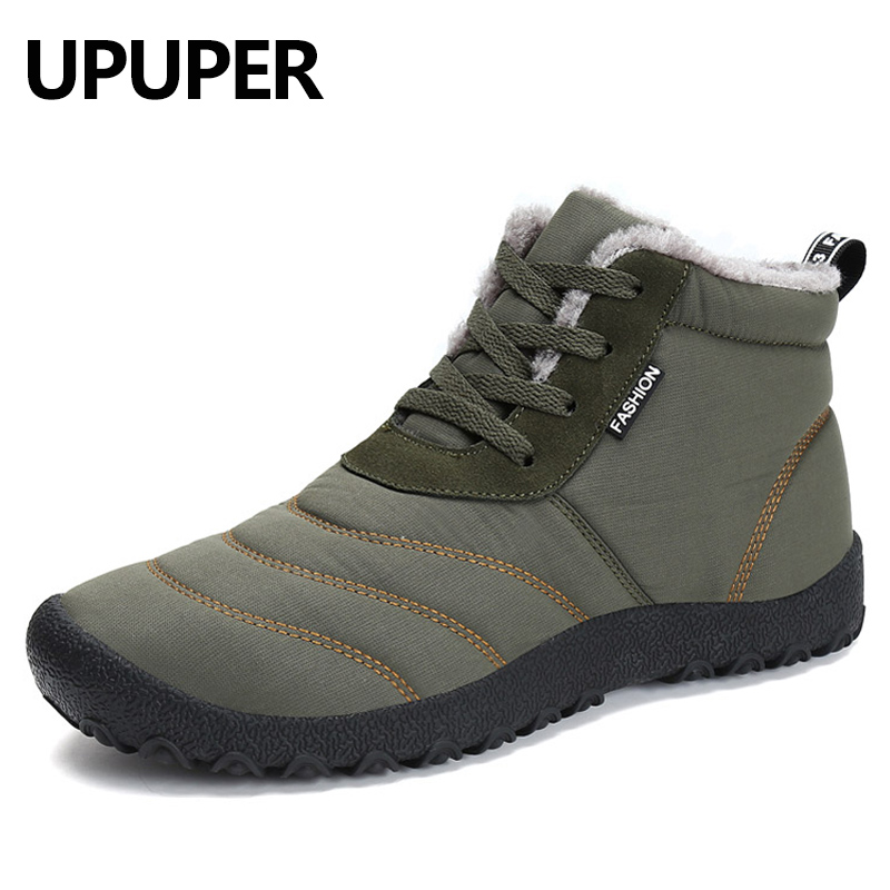 UPUPER Winter Men Snow Boots Waterproof Shoes Winter Boots With Fur Fashion Men Ankle Boots Warm Plush Footwear Winter Shoes