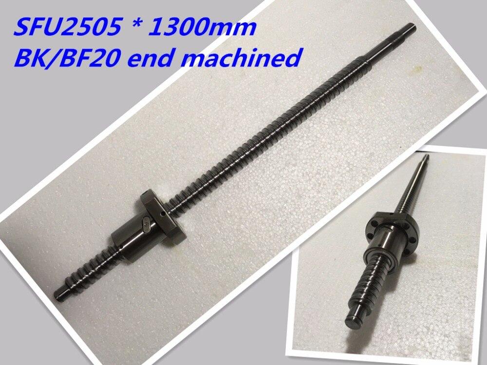 1pc 25mm Ball Screw Rolled C7 ballscrew 2505 SFU2505 1300mm BK20 BF20 end processing 1pc SFU2505