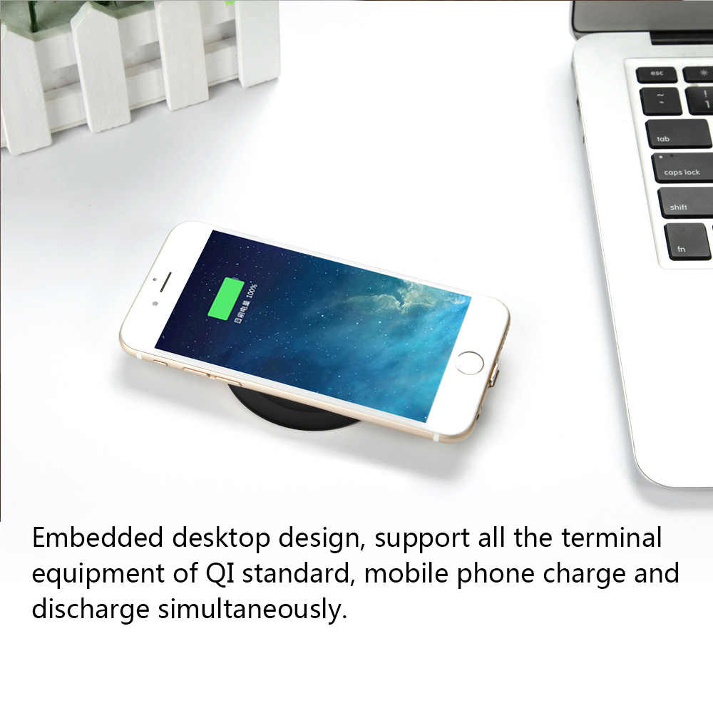 Qi Wireless Charger Tertanam Desktop Pengisian Nirkabel Ponsel untuk Xiaomi Huawei iPhone X 8 PLUS Samsung S9 S7 S8 + note 8 Charger