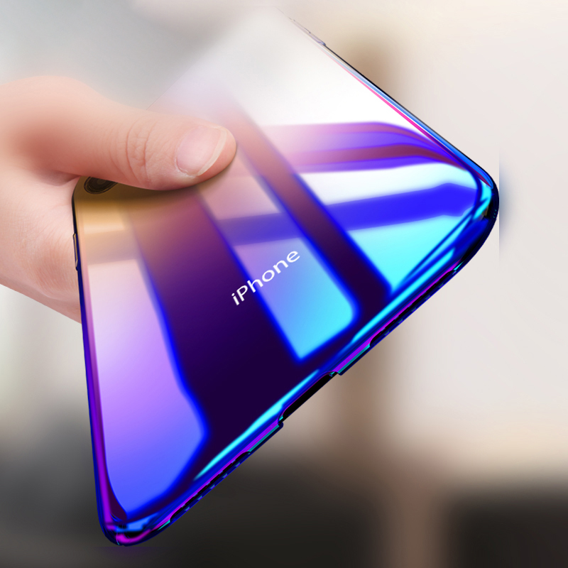 Blue-ray Phone Coque For iPhone XR Case Gradient Transparent Hard PC Back Cover Funda For iPhone XS MAX XS X 8 7 6s 6 Plus Cases