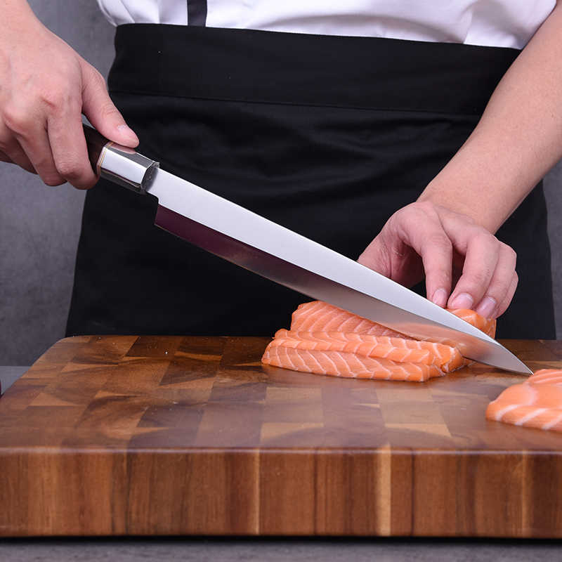 Japanese Yanagiba Knife Professional Chef Kitchen Knife Stainless Steel Knives Fish Filleting Sashimi Sushi Salmon Knives Cutter