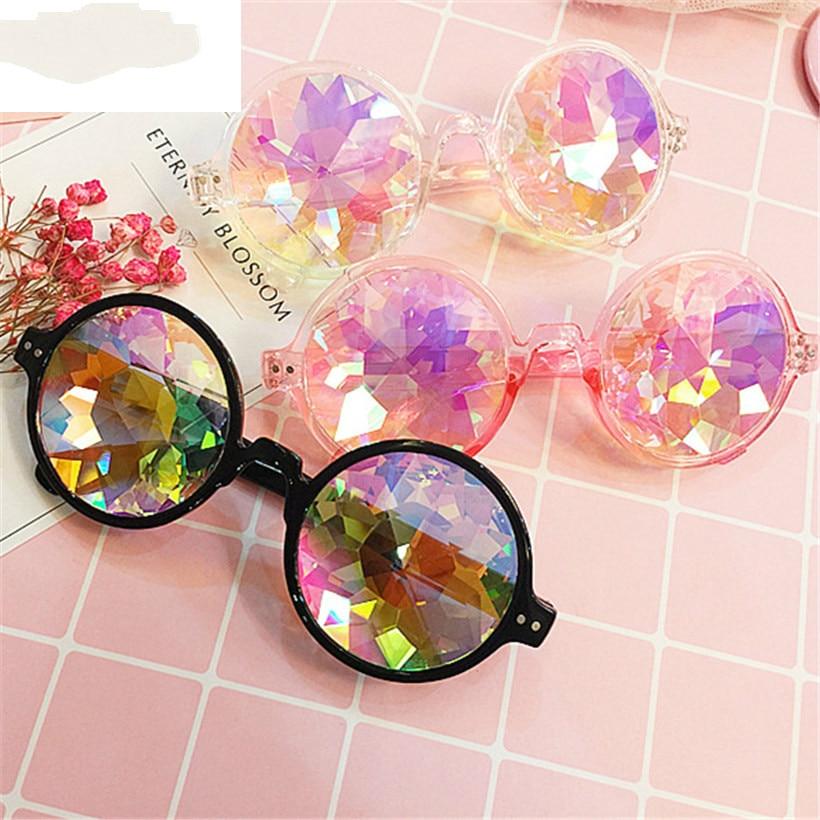 Round Kaleidoscope Glasses Women Rave Festival Sunglasses Men Holographic Glasses Colorful Celebrity Party Eyewear