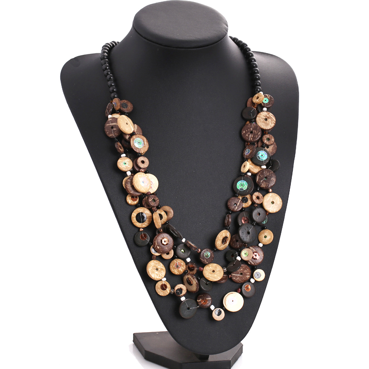 's dopaminergic multi-layer wood bead knitted coconut shell necklace