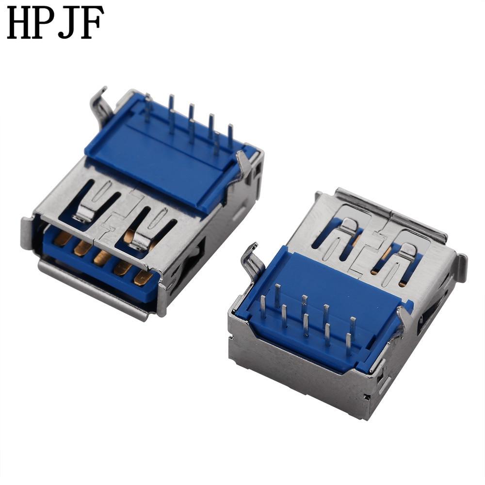 5pcs/lot USB 3.0 Female Type-A 9 Pin Socket Connector 90-degrees Horizontal female high quality 5pcs dual usb type a female 8 pin socket connector diy