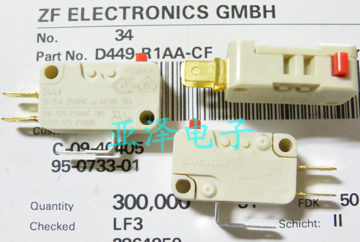 10PCS/LOT Germany CHERRY cherry D449-R1AA-CF micro switch, D44X limit switch, 10A, 250VAC стоимость