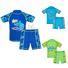 2017 2Pcs Set Short Sleeve 3 Colors Rash Guards Swimsuits UPF 50+ UV Protective Swimwear Sunblock Bathing Suit 3-12Y