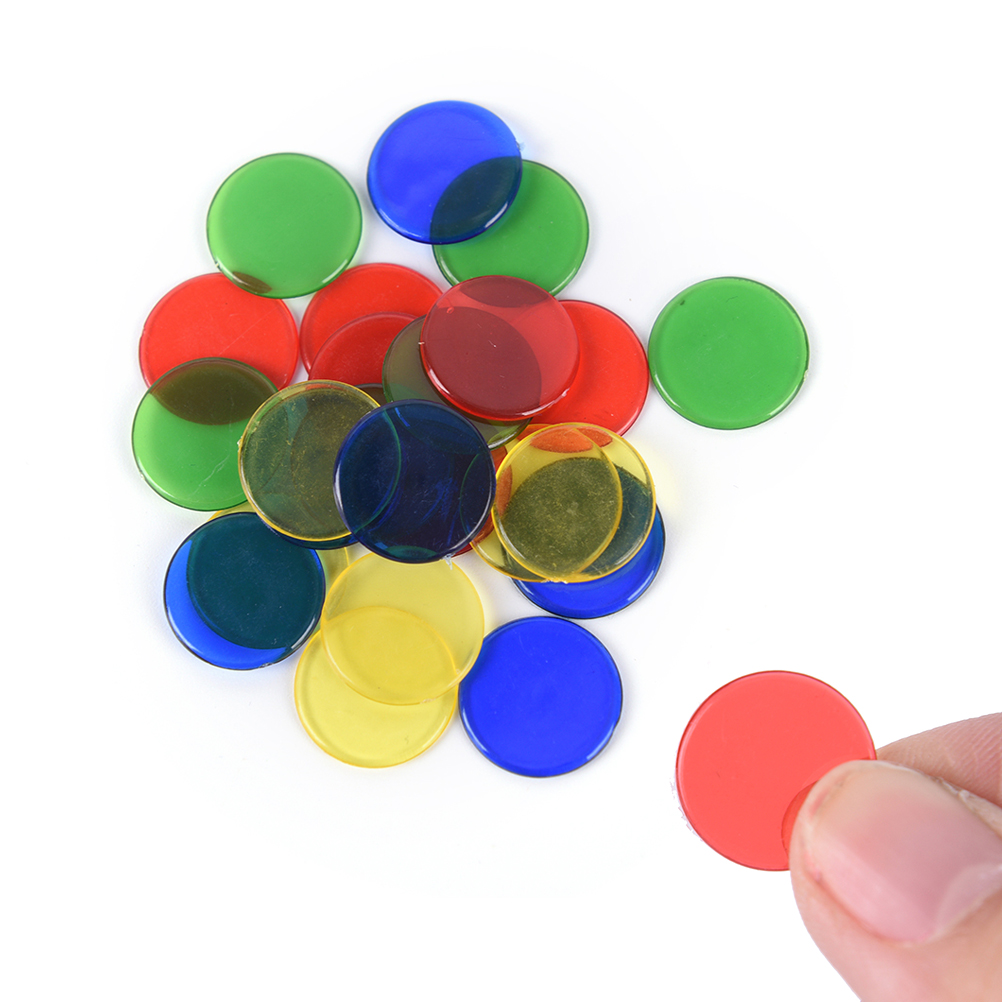 50pcs Plastic Pro Count Bingo Chips Markers For Bingo Game Cards 1.5 Cm Random Color 4 Colors Bright And Translucent In Appearance