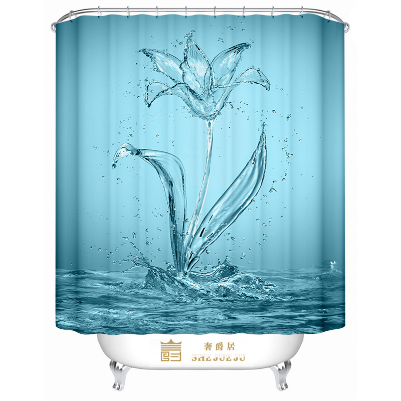 2018 Europe WaterProof Bath Curtain Solid Water Flowers Home decor Bathroom Shower Curtain Polyester Fabric