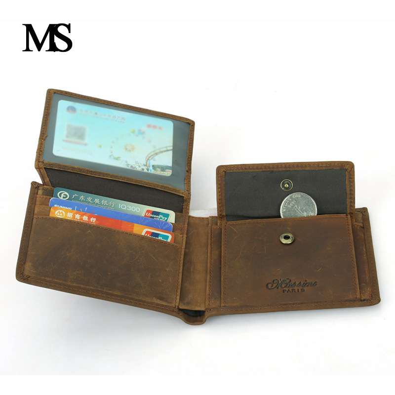 Genuine Leather Men Wallets with Coin Pocket Cowhide Male Purse Crazy Horse Leather Wallets High Quality TW1604 crazy horse leather men wallet slim vintage genuine leather long purse cowhide bifold wallets with coin pocket and card holders