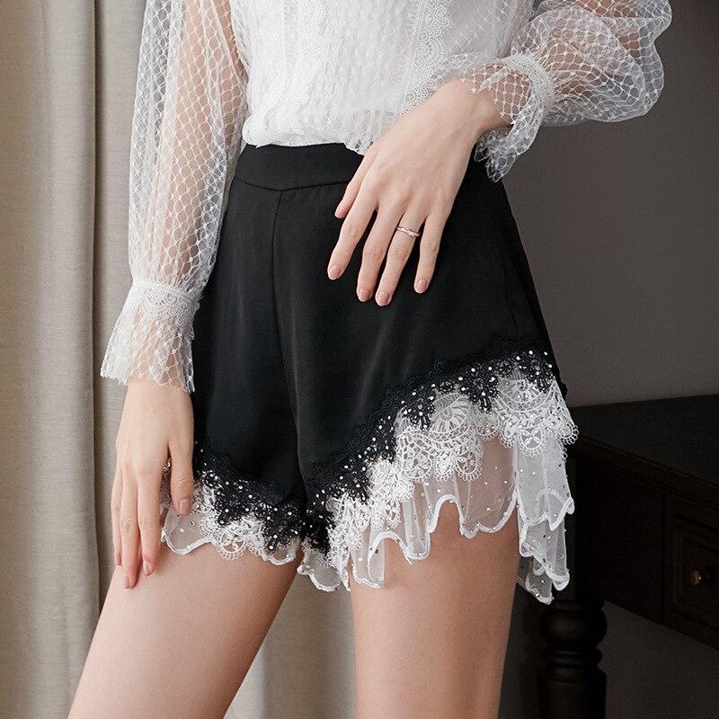Hohe Qualität Shorts 2019 Sommer Vintage Shorts Frauen Kristall Perlen Weiß Spitze Patchwork Casual Sexy Club Shorts Damen - 2