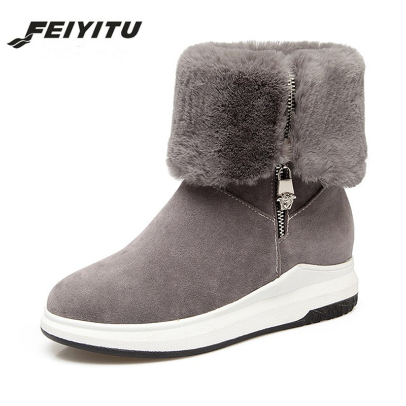 Feiyitu Snow Boots Women Fur Winter Boots Platform Wedges Mid-Calf Boots Med Heel Zipper Warm Shoes 2018 Gray Green Big Size 43 цена