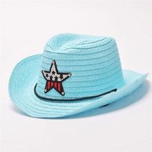 Verano otoño 54 cm niños Caps Cowgirls sombreros de vaquero para niños  patrón de estrellas paja be4bad22732