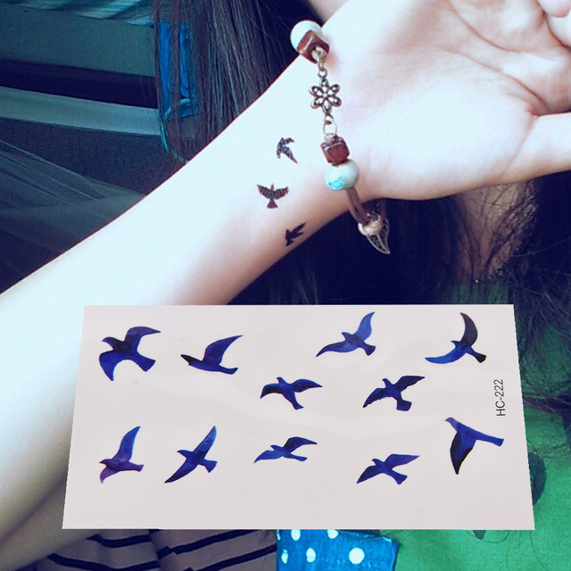 Bird Design Remove Fake Tattoo Sticker Waterproof Body Art Flash