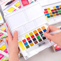 12/18/24/36 colores Portable Travel Solid acuarela pigmento pinturas Set con pincel de con depósito de agua para acuarela pluma para pintura arte suministros