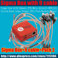 sigma box with 9 cables with Pack 2 activation for t MTK-based Motorola, Alcatel, Huawei, ZTE,