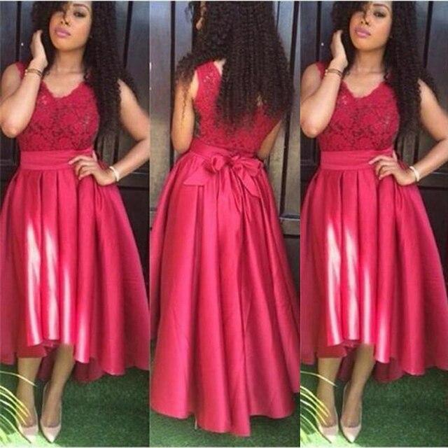Robe D Invite De Mariage Rouge 2019 Dentelle Haut Une Ligne Longueur Plancher Satin Longues Robes Demoiselle D Honneur Pas Cher Femmes Mariee