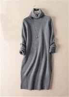 Коза, кашемир Толстая однотонная вязаная женская мода Высокий воротник длинный пуловер, свитер черный 3 вида цветов S L оптом и в розницу