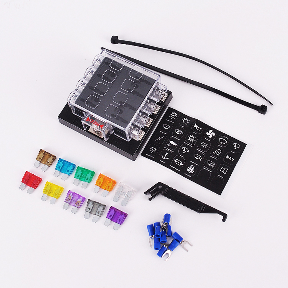 8 way circuit car fuse box holder max voltage dc32v 0 25a blade fuse holder [ 1001 x 1001 Pixel ]