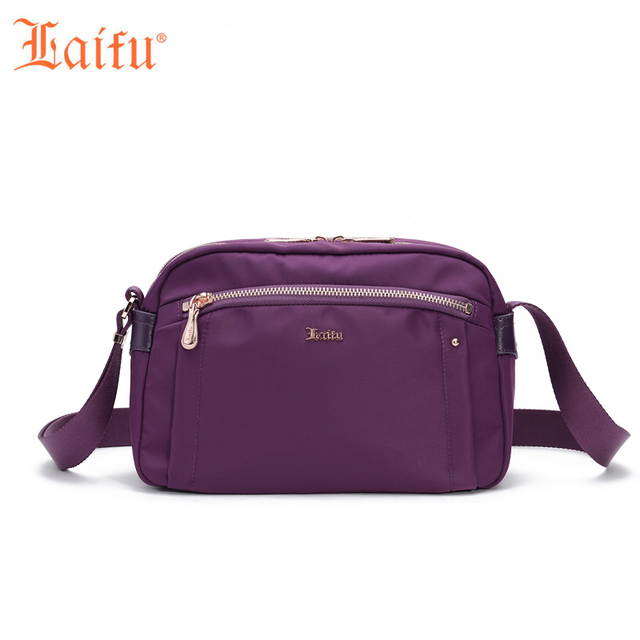 Laifu Brand Women Fashion Handbag Nylon Crossbody Bag Rivet Decoration Casual Messenger Black Blue Purple