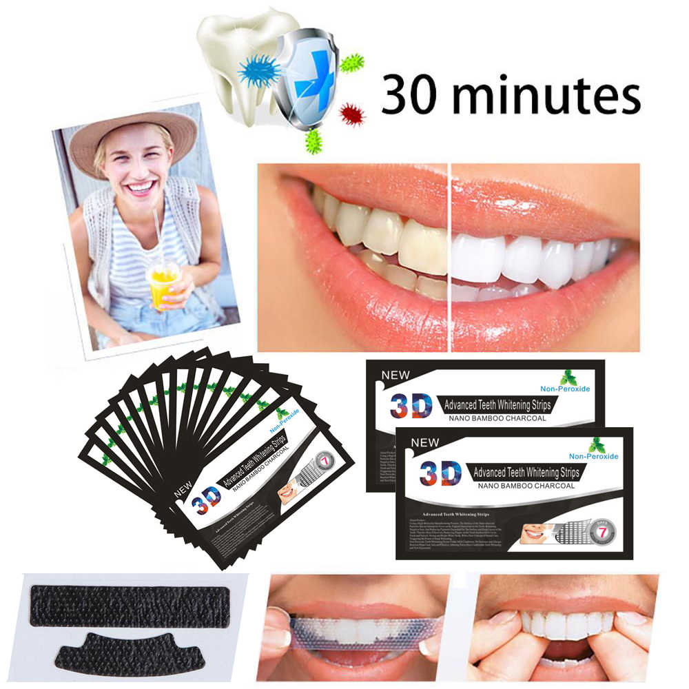1PC 3D Black Teeth Bamboo Charcoal Whitening Patch Stickers Strip Mint Whitening Strips Professional Teeth Oral Care Tools TSLM2