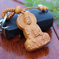 New Handmade Classic Keychain Keyring Wood the Goddess of Mercy Carved Car Pendant decoration Buddhism Buddha Statue Present