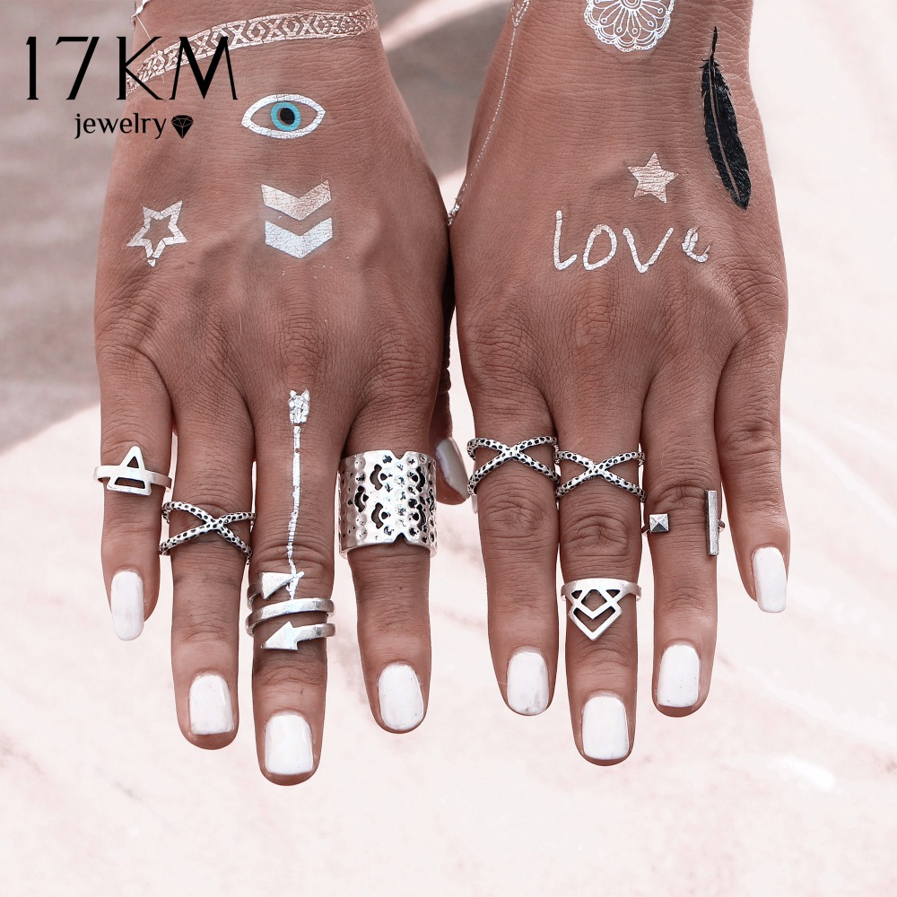 17KM 8PCSSET Vintage Bohemian Style Vintage Anti Silver Color Rings for Women Tibetan Infinity Arrow Punk Boho Rings Set  bracelet