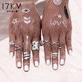 17KM 8PCS\SET Vintage Bohemian Style Vintage Anti Silver Color Rings for Women Tibetan Infinity Arrow Punk Boho Rings Set