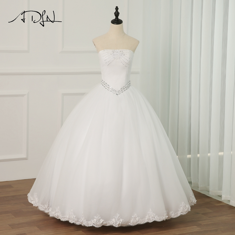 Jeweled Ball Gown Wedding Dresses: ADLN Vintage White/ Ivory Wedding Dress Strapless Beaded