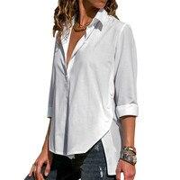 Женская блузка с длинным рукавом, осень 2018, Новая модная женская офисная рубашка, Повседневная Свободная Однотонная футболка, элегантная же...
