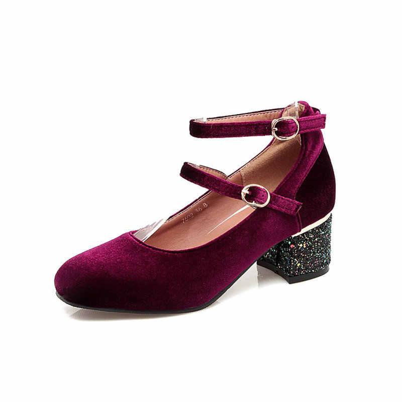 Sianie Tianie kadife kadife yeşil bordo kadın med yüksek topuklu ayakkabı toka askı bling glitter payetli topuklu mary janes kadın