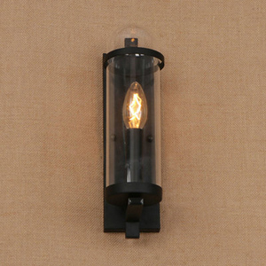 Image 5 - Outdoor waterdichte retro cilindrische glazen wandlamp industriële restaurant bar studie smeedijzeren wandlamp