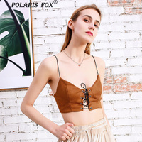 Summer Tank Tops Camis For Femme Suede Velour Drawstring Soft Sexy Crop Tops Wrapped Women Tops