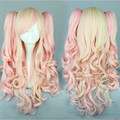 MCOSER New Pink Mixed Wig Pretty Lolita Wig Gothic Lolita Pink Wig Ponytails Princess Cosplay Long Wavy Wig