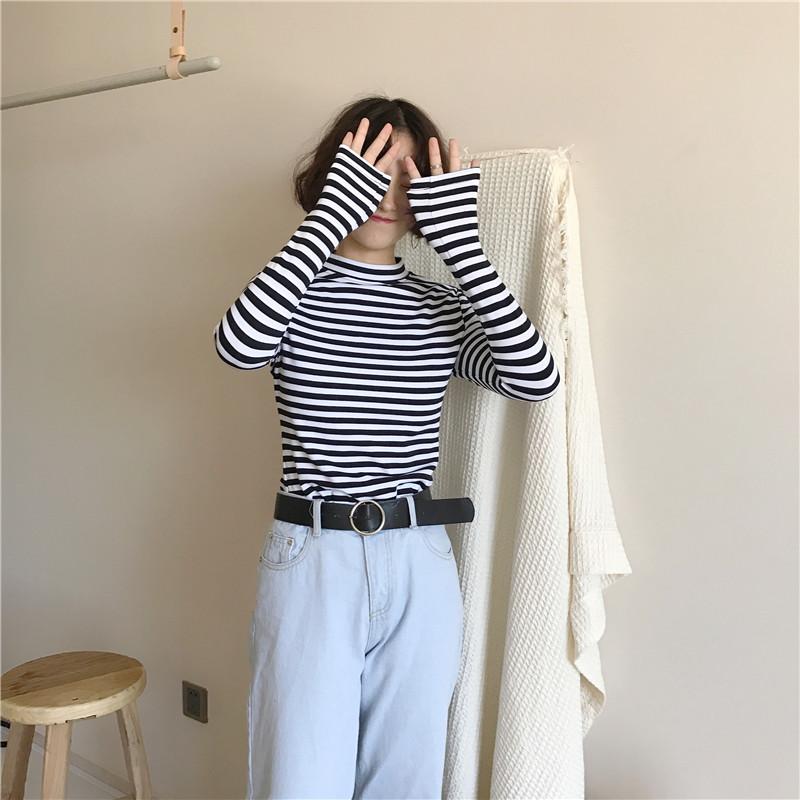 19 Korean Style Long Sleeve T Shirts Women New Hot Sale Student T-shirt Womens Fashion Harajuku Striped Female Slim Femme Lady 14