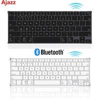 Ajazz AK3.1 Wireless Ultra thin BT Keyboard 78 Keys Rechargeable Ergonomic Metal Panel Mini Keyboard For Phone PC Laptop Tablet