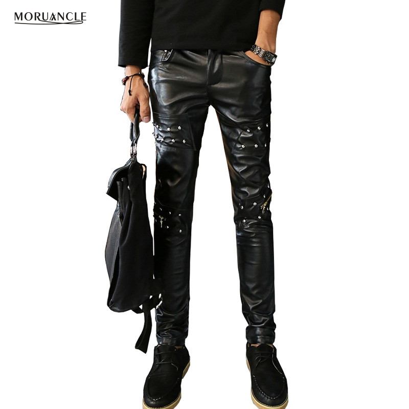 MORUANCLE Fashion Men's Leather Pants With Rainstone SliM Fit Suede Trousers Joggers For Male Multi Zipper Black Red