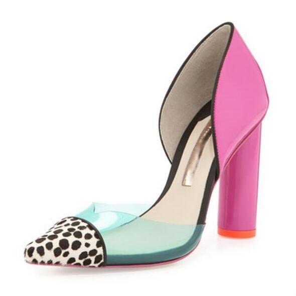 Zapatos Nujer <font><b>Summer</b></font> <font><b>Fall</b></font> New Patch Mixed Colors Polka Dot Chunky shoes woman <font><b>Women</b></font> Pumps <font><b>Pointed</b></font> <font><b>Toe</b></font> Thick <font><b>Heel</b></font> Slip On Ladies