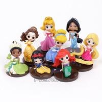 Q Posket Princesses Jouets Poupées Tiana Neige Blanc Rapunzel Jasmine Ariel Cendrillon Belle Aurore PVC Chiffres Filles Cadeaux 8 pcs/ensemble