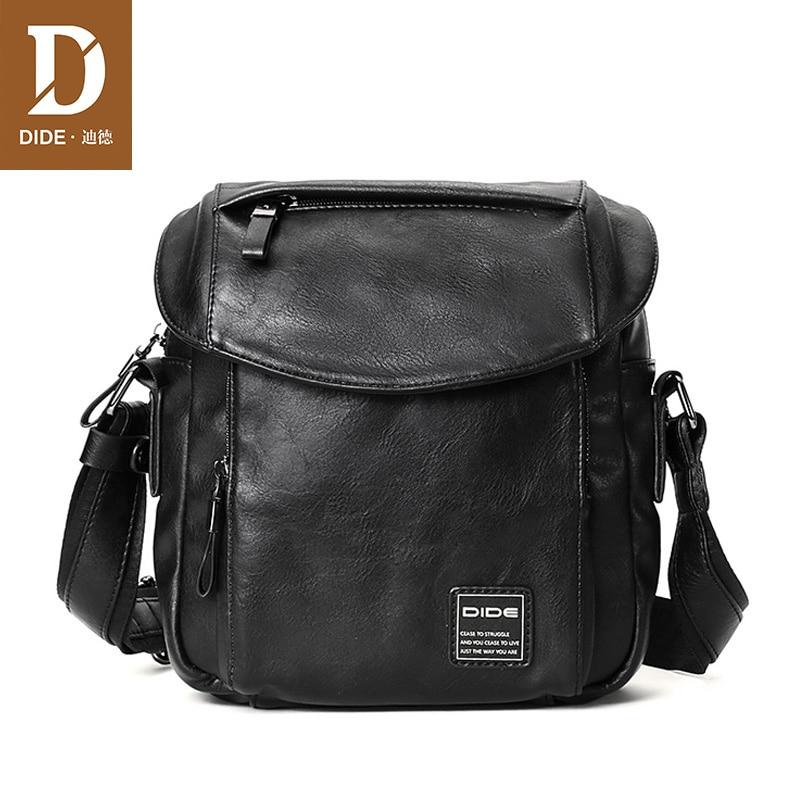 DIDE New Brand Vintage Men Bag Shoulder Crossbody Bags Small Male Bag Leather Handbags IPad designer Cover waterproof