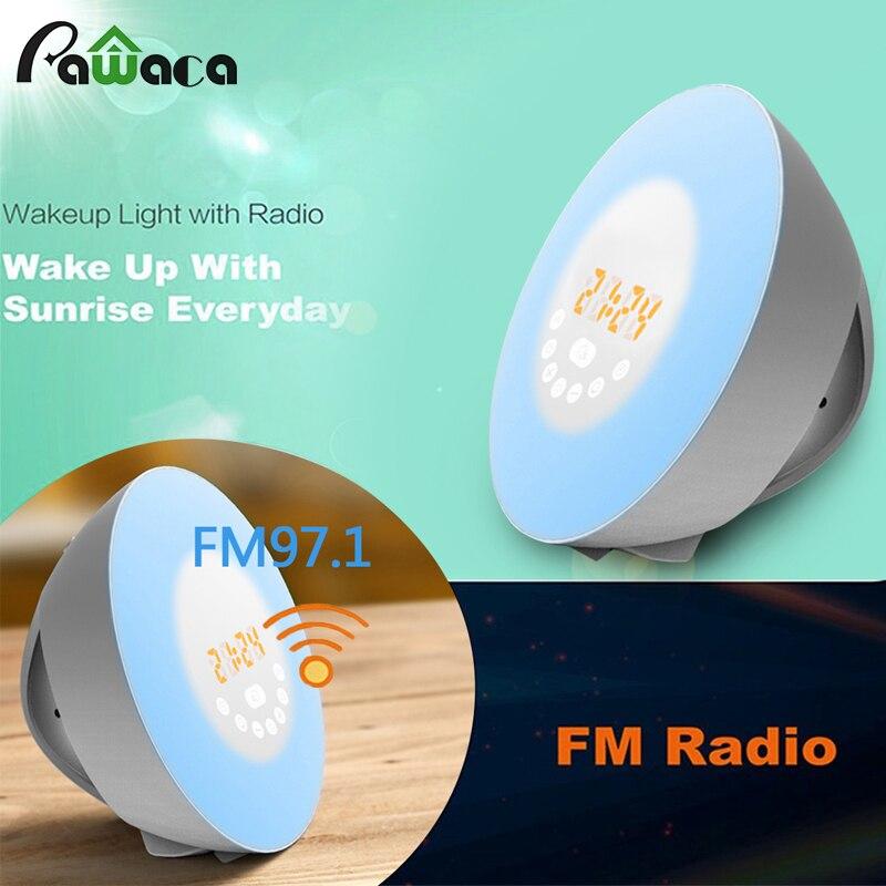 2017 New FM Radio Digital Alarm Clock Wake up Sunrise Sunset Simulation Touch Color Changing Smart Wake-Up Light Alarm Clock